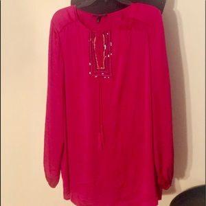 Lane Bryant hot pink satin embellished top